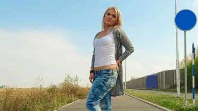 Angella Luxxx Sexy blondes public car bonnet fuck
