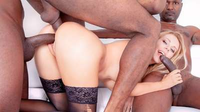 Florane Russell Four Black Studs For Blonde Nympho