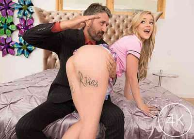 Kali Roses' Step-Father Disciplines Her With His Cock